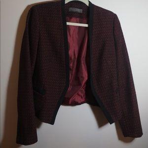 Suzy Shier Burgundy Structured Knit Blazer